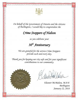 Certificate of Congratulations on 30th Anniversary presented by Eleanor McMahon, MPP