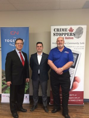 (From Left) Doug Maybee, Crime Stoppers of Halton Chair.  Drew Redden, CN Ontario Lead of Community Affairs. Wally Trapler, Crime Stoppers of Halton board member and retired CN Police Officer.