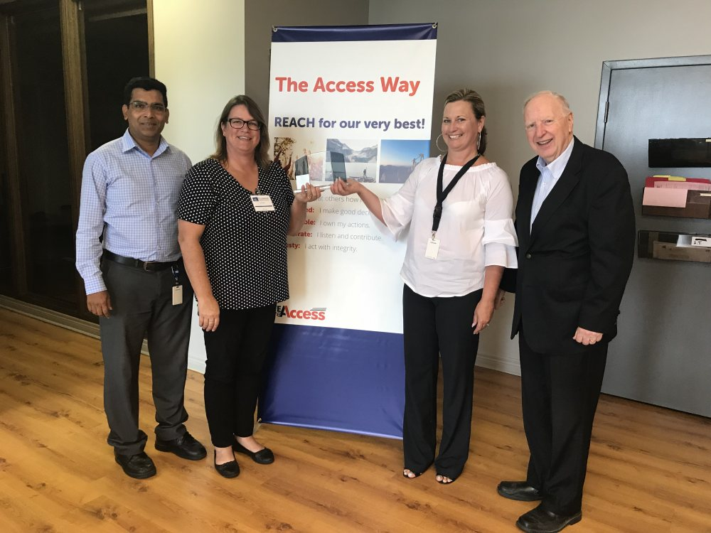 Left to Right: Ritnesh Kumar (Filebank), D/Cst Jodi Richmond (Crime Stoppers of Halton), Marcia Snow (Filebank), Cal Millar (Crime Stoppers of Halton)