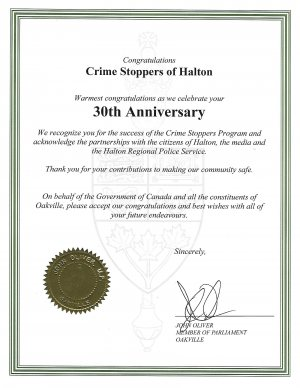 Certificate of Congratulations on 30th Anniversary presented by John Oliver, MP