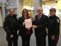 Cst Gina Brunelle, HCS Coordinator D/Cst Jodi Richmond, Mayor Gordon Krantz and Cst Maureen Andrew