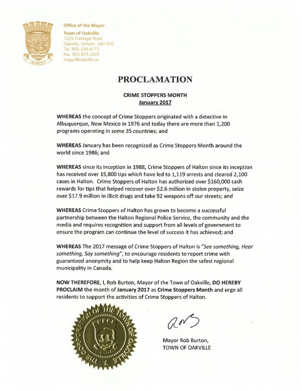 Oakville proclamation